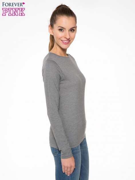 Ciemnoszara bawełniana bluzka typu basic z długim rękawem                                  zdj.                                  3