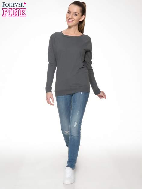 Ciemnoszara bawełniana bluzka z rękawami typu reglan                                  zdj.                                  2