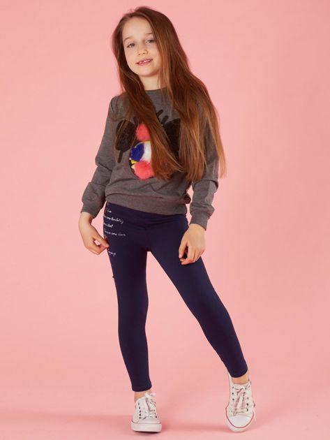 Ciemnoszara bluza dla dziewczynki z kolorową aplikacją                              zdj.                              4