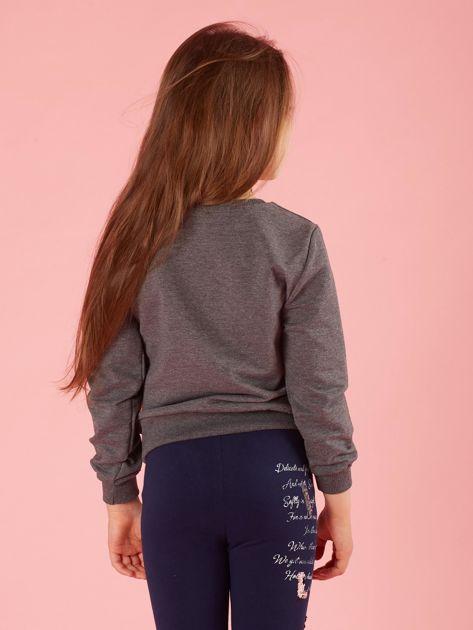 Ciemnoszara bluza dla dziewczynki z kolorową aplikacją                              zdj.                              2