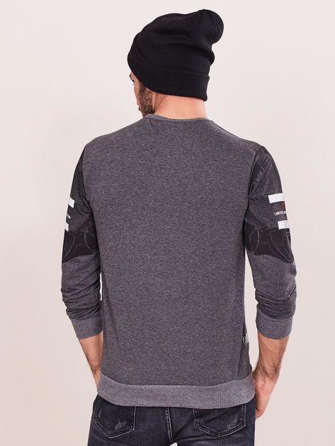 Ciemnoszara bluza dresowa dla mężczyzny z nadrukiem                              zdj.                              2