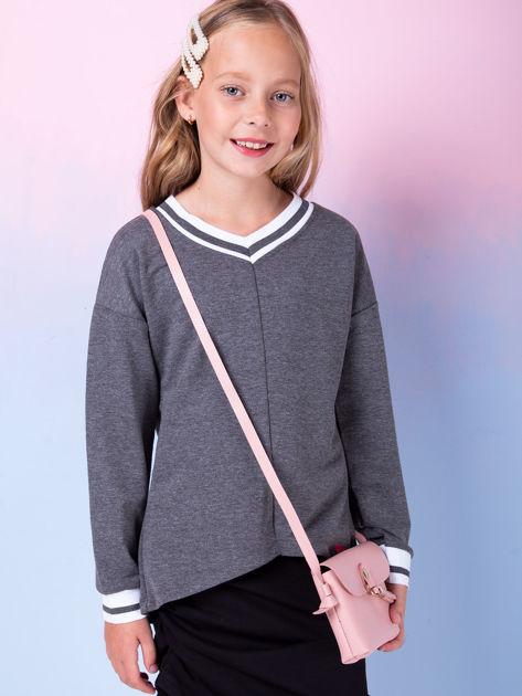 Ciemnoszara bluza dziewczęca V-neck ze ściągaczami                              zdj.                              1