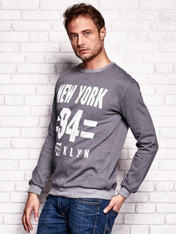 Ciemnoszara bluza męska z napisem NEW YORK                                  zdj.                                  3