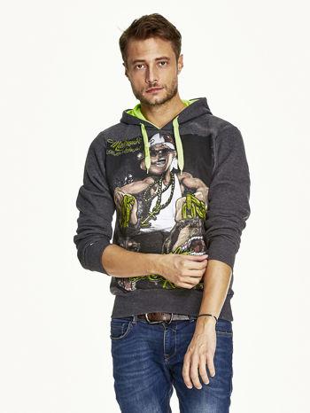 Ciemnoszara bluza męska z raperskim nadrukiem                               zdj.                              1