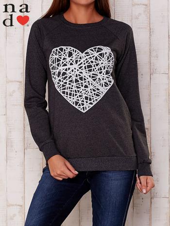 Ciemnoszara bluza z nadrukiem serca                                  zdj.                                  2