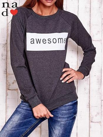 Ciemnoszara bluza z napisem AWESOME