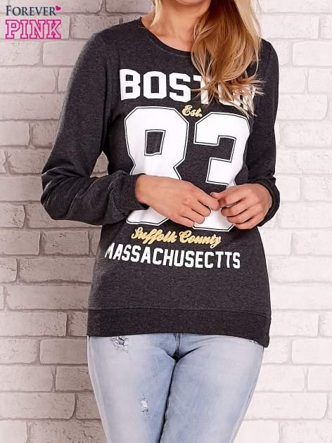 Ciemnoszara bluza z napisem BOSTON 83
