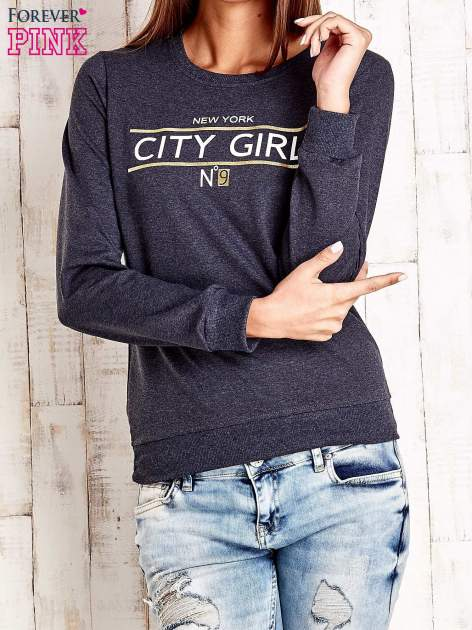 Ciemnoszara bluza z napisem CITY GIRL