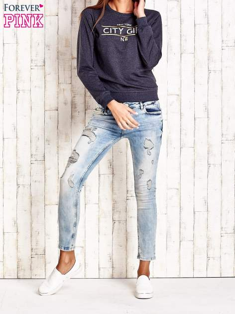 Ciemnoszara bluza z napisem CITY GIRL                                  zdj.                                  4