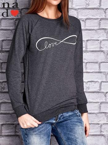 Ciemnoszara bluza z napisem LOVE                                  zdj.                                  1
