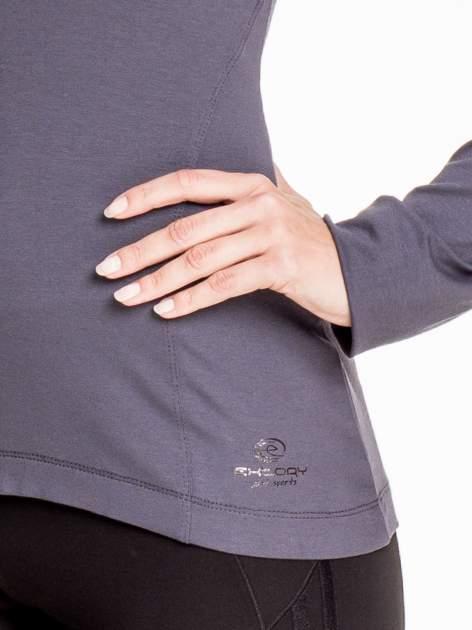 Ciemnoszara bluzka sportowa z dekoltem U                                  zdj.                                  5