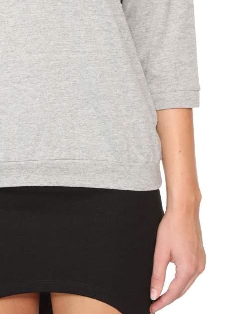 Ciemnoszara bluzka z rękawem 3/4 i lekkim ściągaczem na dole                                  zdj.                                  6