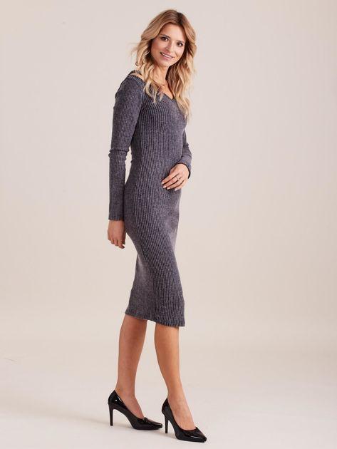 Ciemnoszara dopasowana sukienka cold shoulder                              zdj.                              3