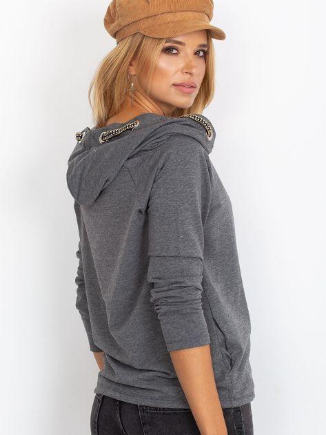 Ciemnoszara dresowa bluza z ozdobnym kapturem                               zdj.                              2