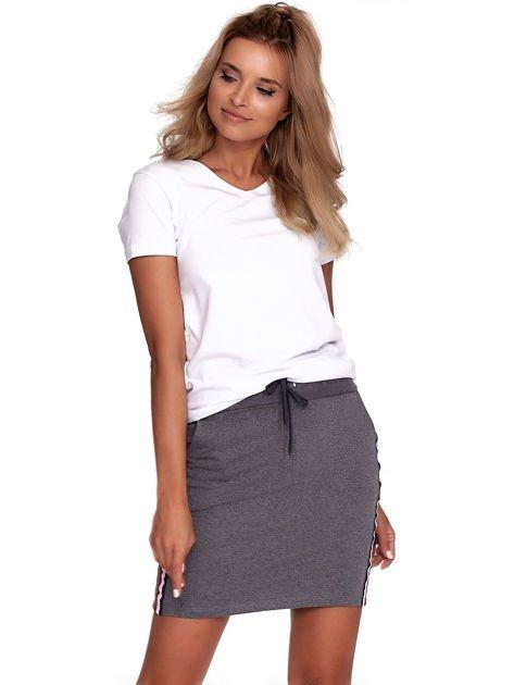 Ciemnoszara dresowa spódnica mini z kieszeniami i paskami                              zdj.                              5