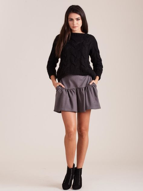 Ciemnoszara dresowa spódnica z falbaną                               zdj.                              4
