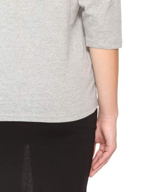 Ciemnoszara gładka bluzka z rękawem 3/4                                  zdj.                                  9