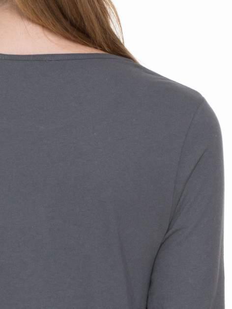 Ciemnoszara gładka bluzka z rękawem 3/4                                  zdj.                                  7