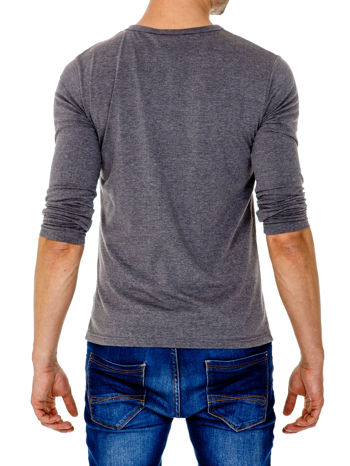 Ciemnoszara gładka koszulka męska longsleeve                                  zdj.                                  5