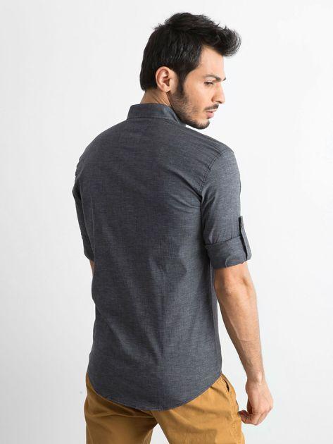 Ciemnoszara koszula męska regular fit ze stójką                               zdj.                              2