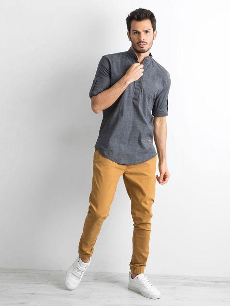 Ciemnoszara koszula męska regular fit ze stójką                               zdj.                              4
