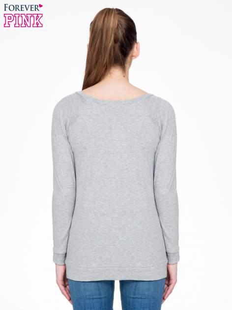 Ciemnoszara melanżowa bawełniana bluzka z rękawami typu reglan                                  zdj.                                  4