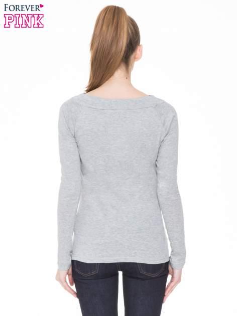 Ciemnoszara melanżowa bluzka z reglanowymi rękawami                                  zdj.                                  4
