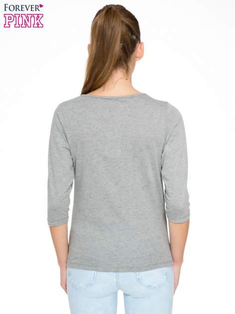 Ciemnoszara melanżowa bluzka z rękawami 3/4                                  zdj.                                  4