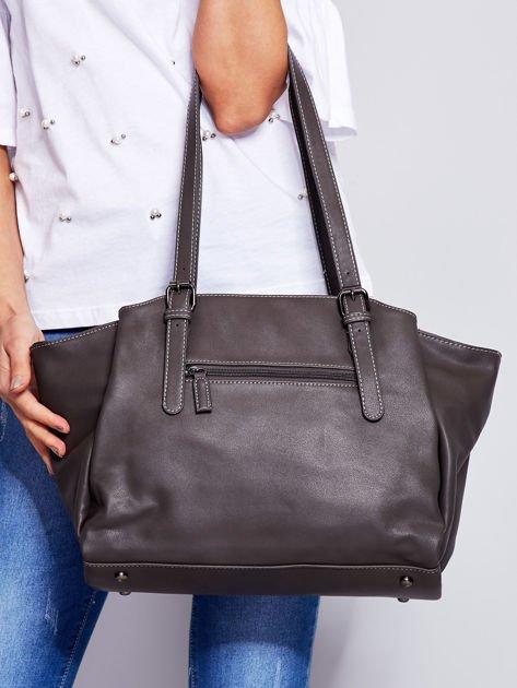 Ciemnoszara miękka torba w miejskim stylu                                  zdj.                                  2