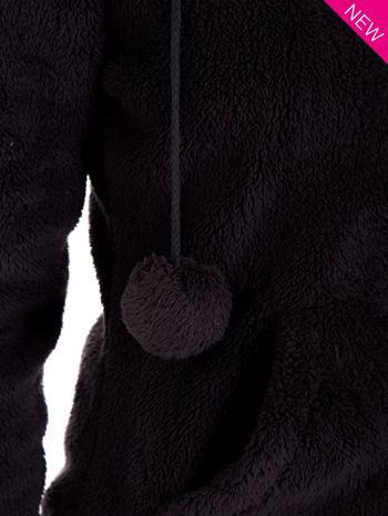 Ciemnoszara pluszowa bluza z kapturem z uszkami i pomponami                                  zdj.                                  12