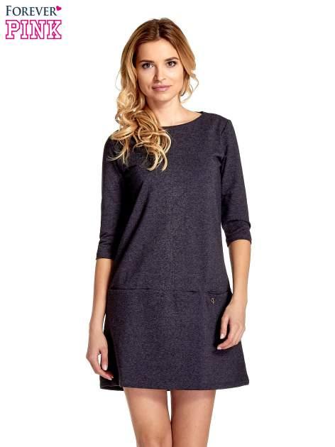 Ciemnoszara  prosta sukienka z kieszeniami                                   zdj.                                  1