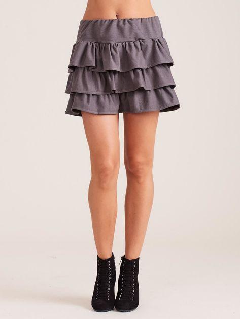 Ciemnoszara spódnica mini z falbanami                              zdj.                              5