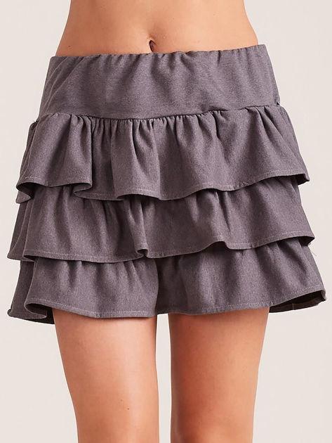 Ciemnoszara spódnica mini z falbanami                              zdj.                              1