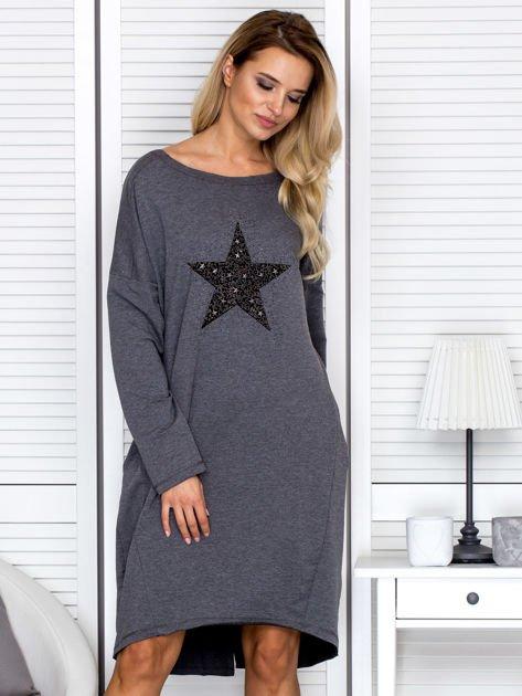 Ciemnoszara sukienka z gwiazdą                               zdj.                              1