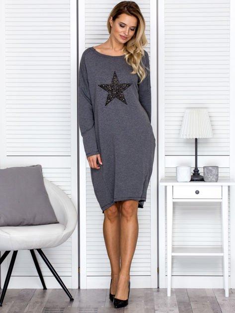 Ciemnoszara sukienka z gwiazdą                               zdj.                              4