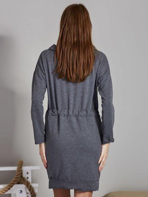 Ciemnoszara sukienka z wstążkami                               zdj.                              2