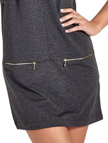 Ciemnoszara sukienka ze złotymi suwakami                                  zdj.                                  5