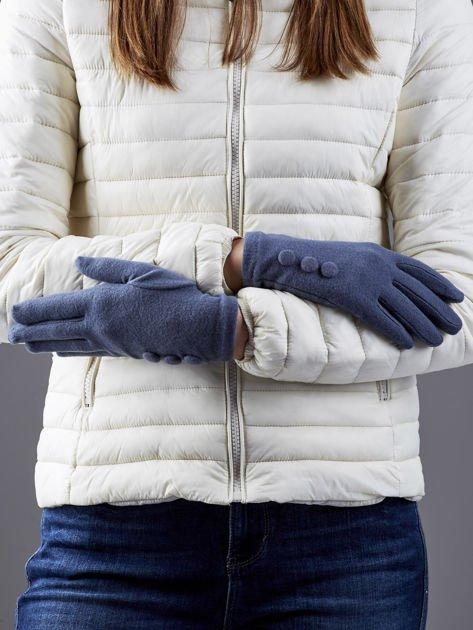 Ciemnoszare rękawiczki z guzikami                                  zdj.                                  2