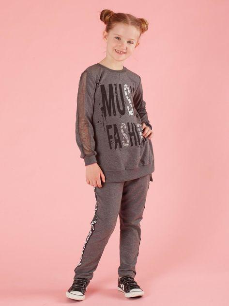 Ciemnoszare spodnie dresowe dziecięce z cekinowym lampasem                              zdj.                              4