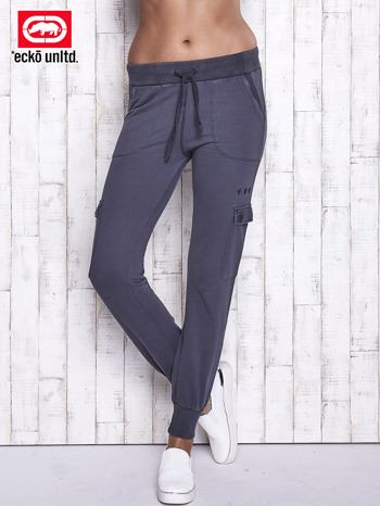 Ciemnoszare spodnie dresowe z kieszeniami na nogawkach