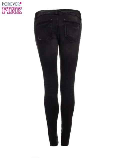Ciemnoszare spodnie jeansowe typu skinny z suwakami na górze i przy nogawkach                                  zdj.                                  5
