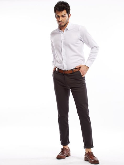 Ciemnoszare spodnie męskie chinos                                  zdj.                                  13