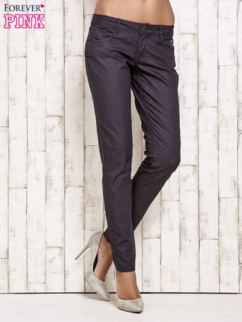 Ciemnoszare spodnie rurki w jodełkę                                  zdj.                                  1
