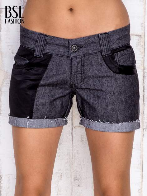Ciemnoszare szorty jeansowe z materiałowymi wstawkami                                  zdj.                                  1
