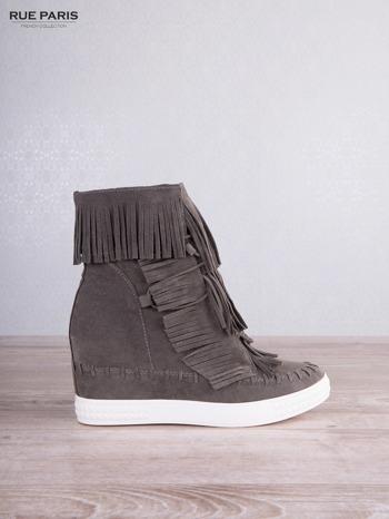 Ciemnoszare zamszowe sneakersy Aravia z frędzelkami na koturnach