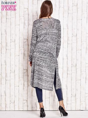 Ciemnoszary długi melanżowy sweter                                   zdj.                                  4