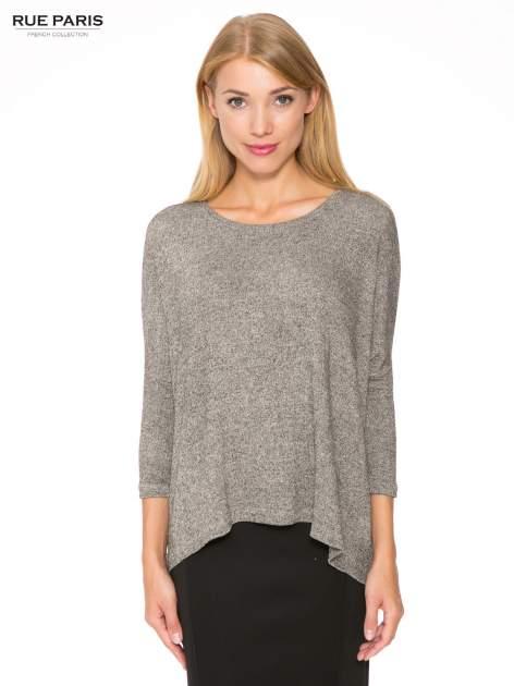 Ciemnoszary melanżowy sweter oversize o obniżonej linii ramion