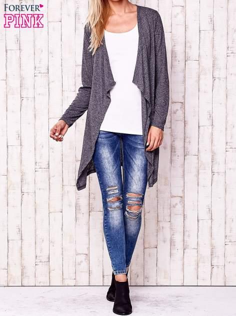 Ciemnoszary melanżowy sweter w drobne prążki                                  zdj.                                  2