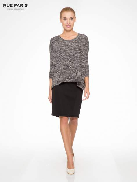 Ciemnoszary melanżowy sweter z rękawami 3/4                                  zdj.                                  2