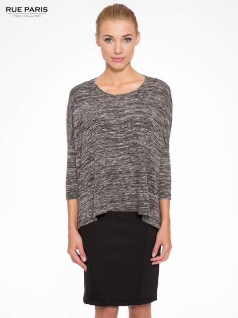 Ciemnoszary melanżowy sweter z rękawami 3/4                                  zdj.                                  1